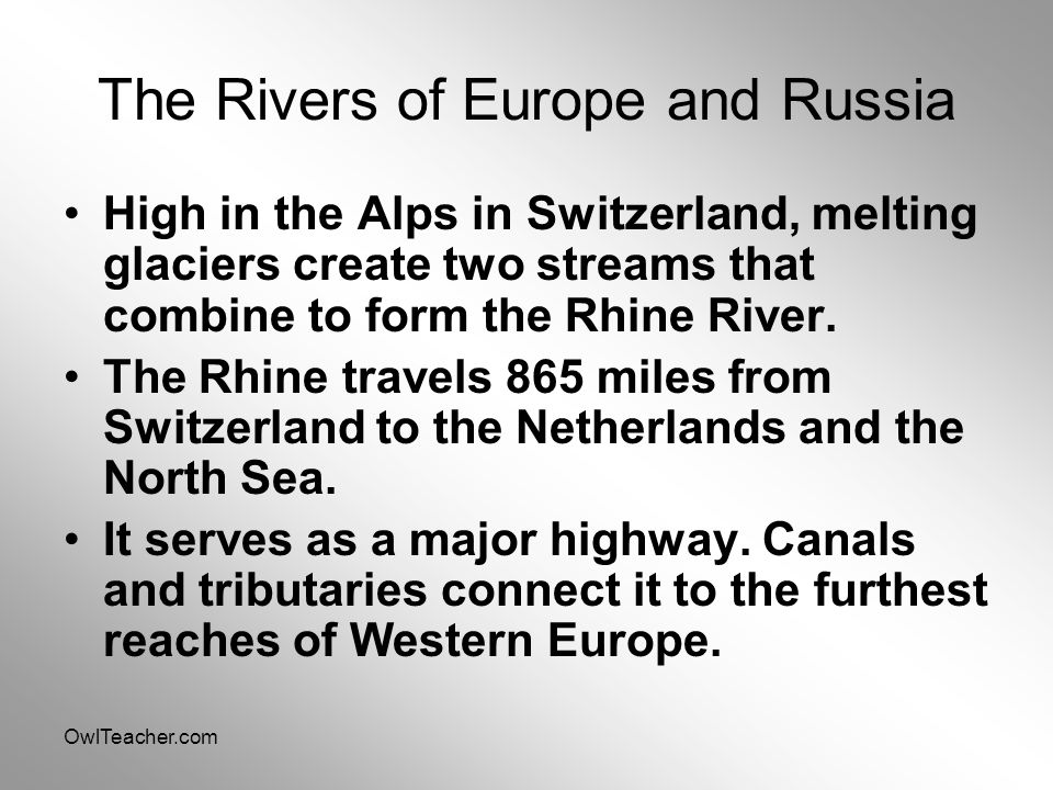 The Rivers of Europe and Russia