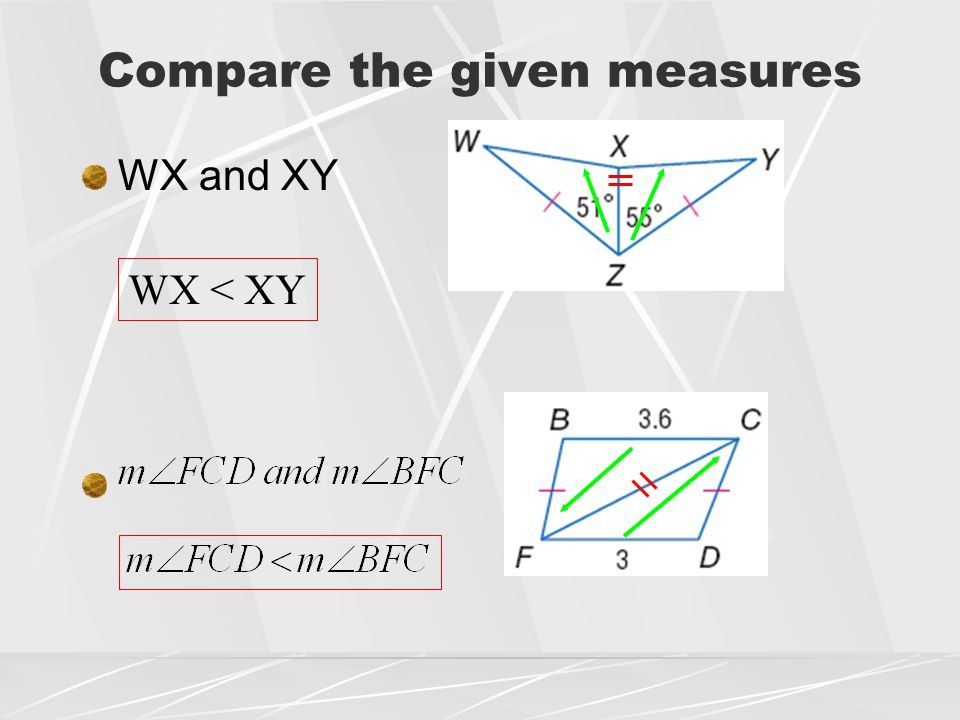 Compare the given measures