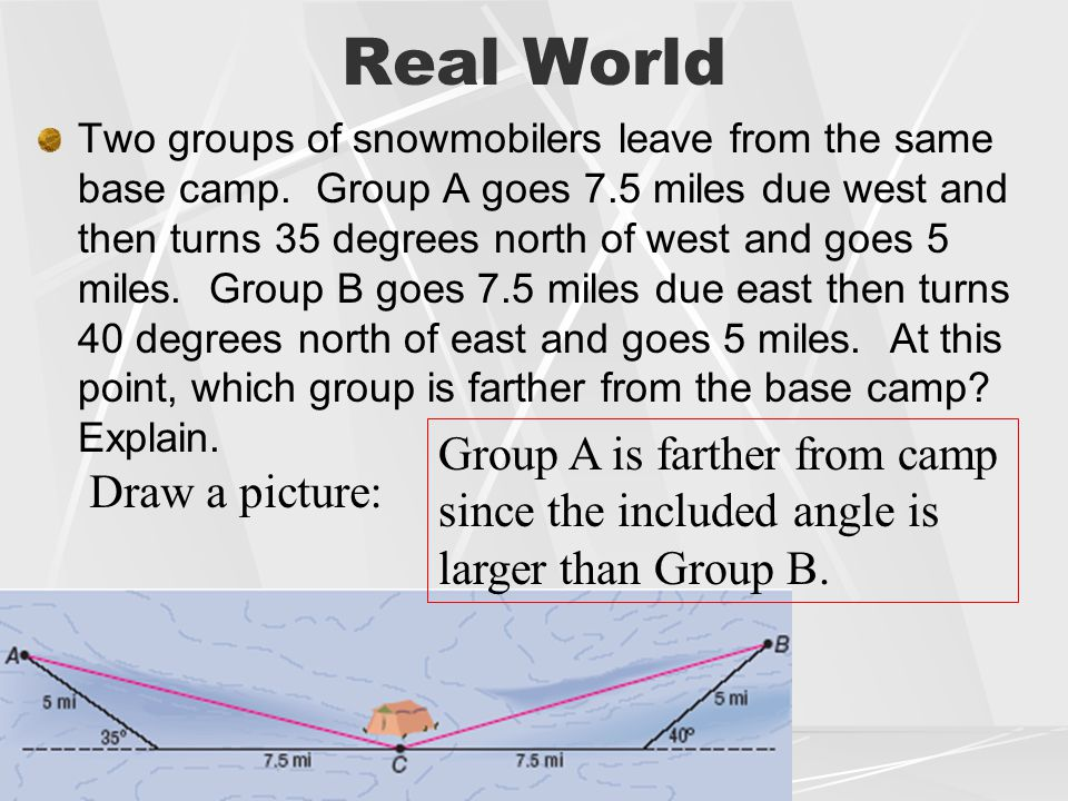 Real World Group A is farther from camp since the included angle is