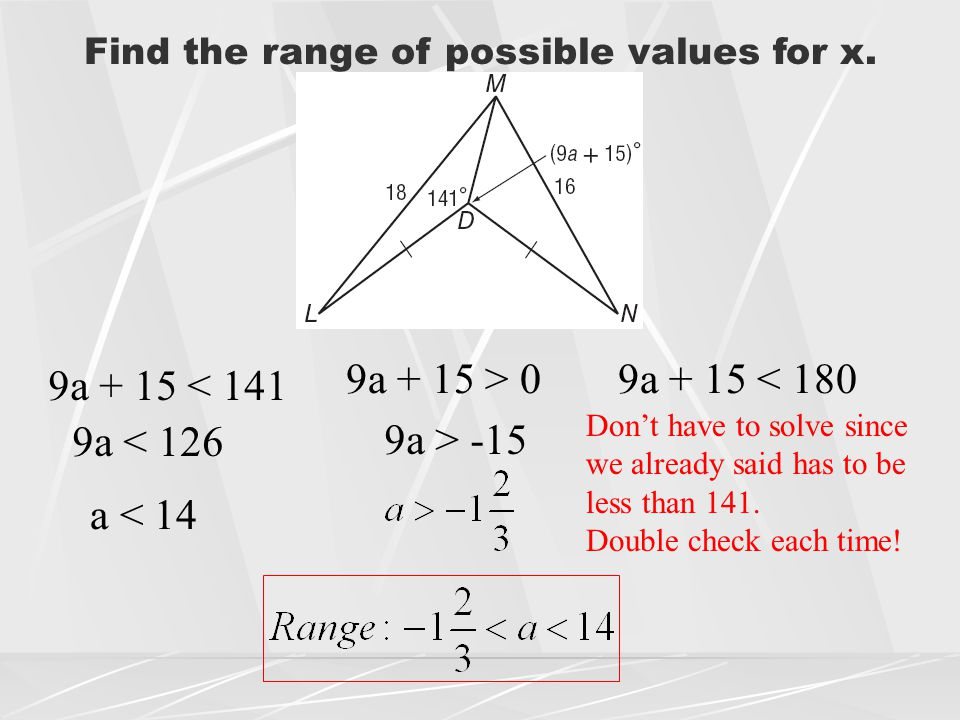 Find the range of possible values for x.