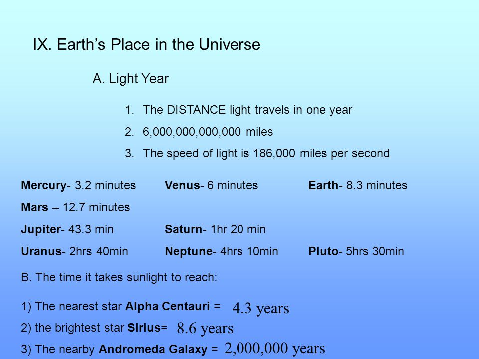 IX. Earth's Place in the Universe