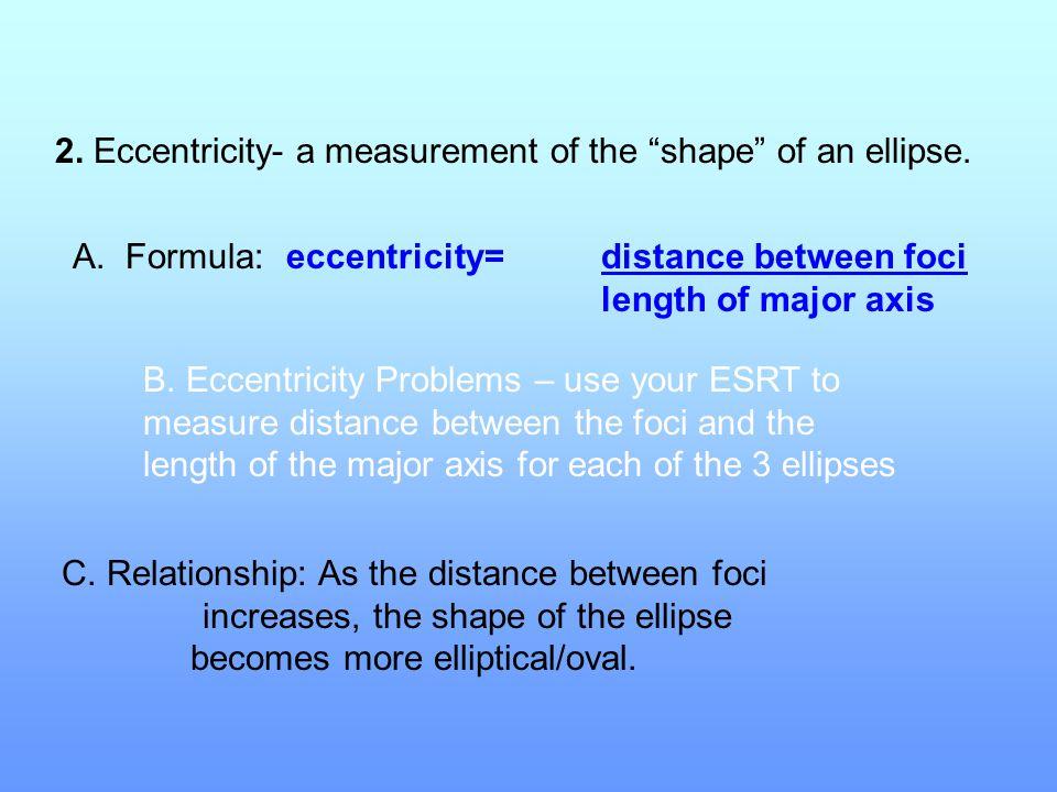 2. Eccentricity- a measurement of the shape of an ellipse.