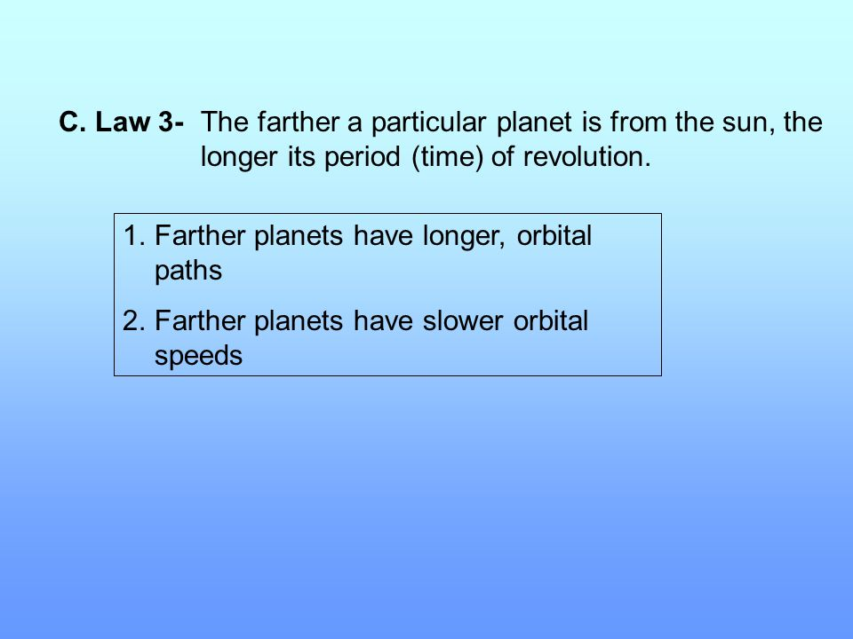 C. Law 3- The farther a particular planet is from the sun, the longer its period (time) of revolution.