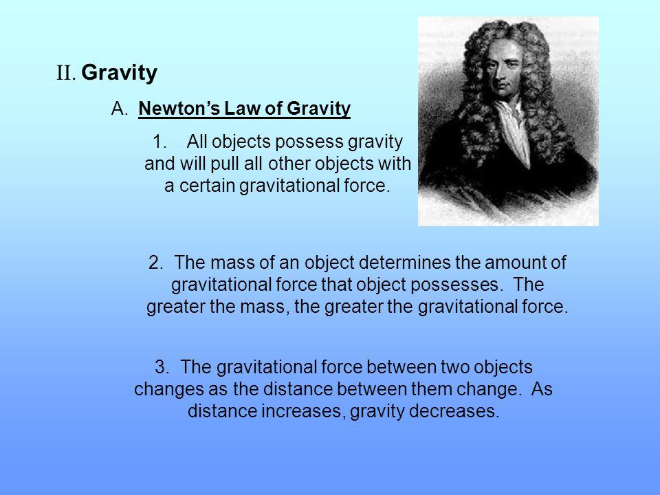II. Gravity A. Newton's Law of Gravity