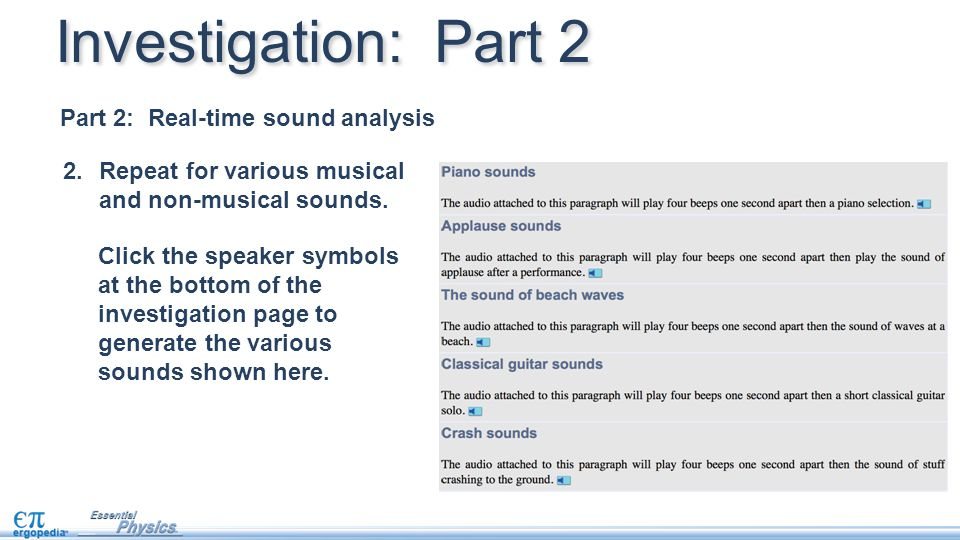 Investigation: Part 2 Part 2: Real-time sound analysis