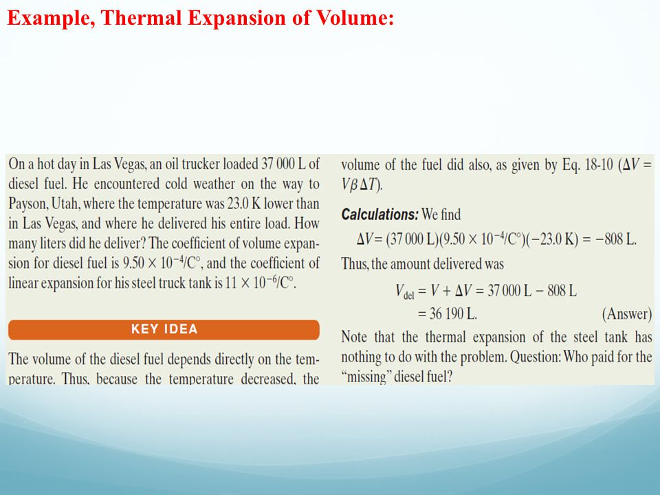 Example, Thermal Expansion of Volume: