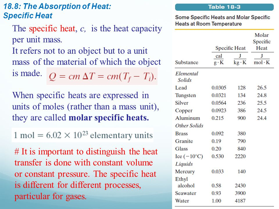The specific heat, c, is the heat capacity per unit mass.