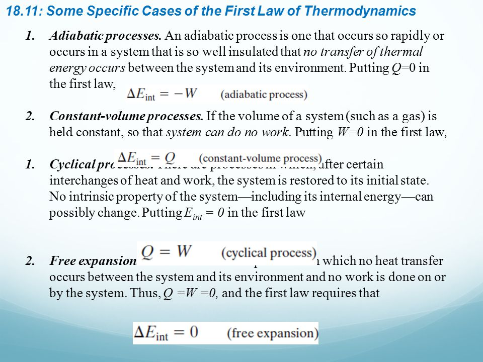 18.11: Some Specific Cases of the First Law of Thermodynamics
