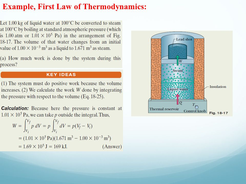 Example, First Law of Thermodynamics: