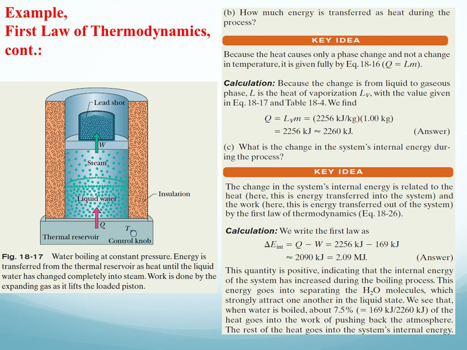 Example, First Law of Thermodynamics, cont.: