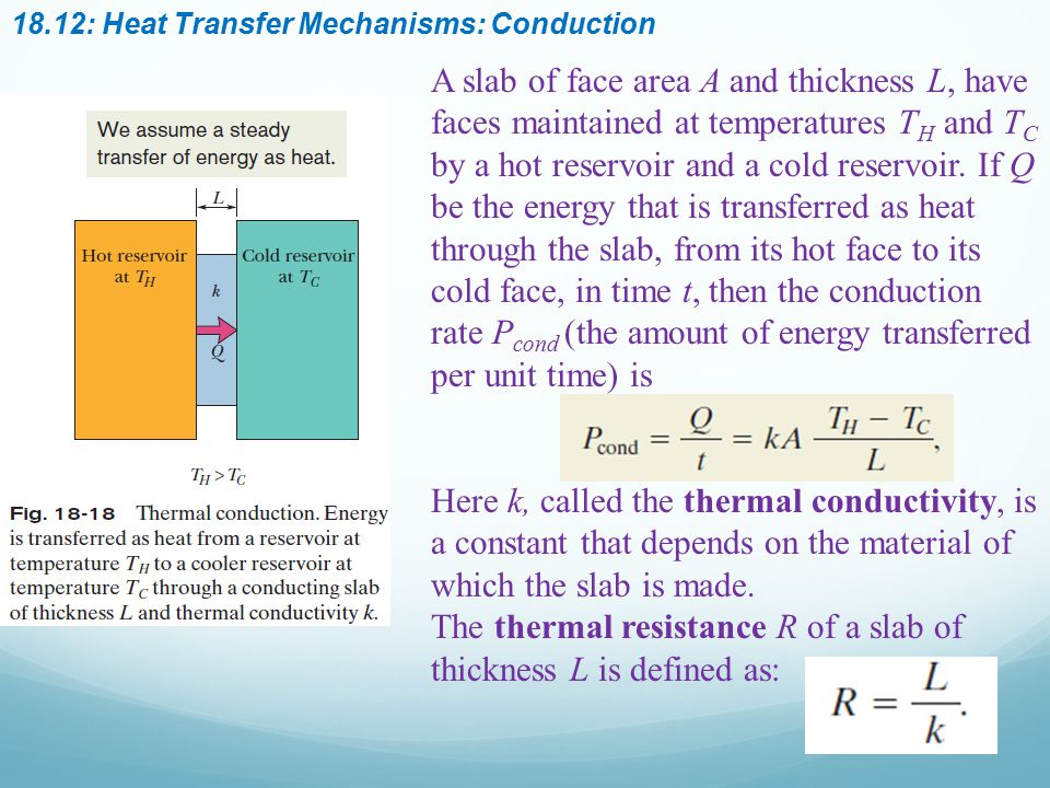 The thermal resistance R of a slab of thickness L is defined as: