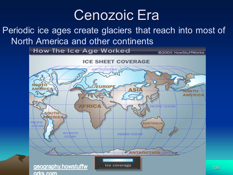 Cenozoic Era Periodic ice ages create glaciers that reach into most of North America and other continents.