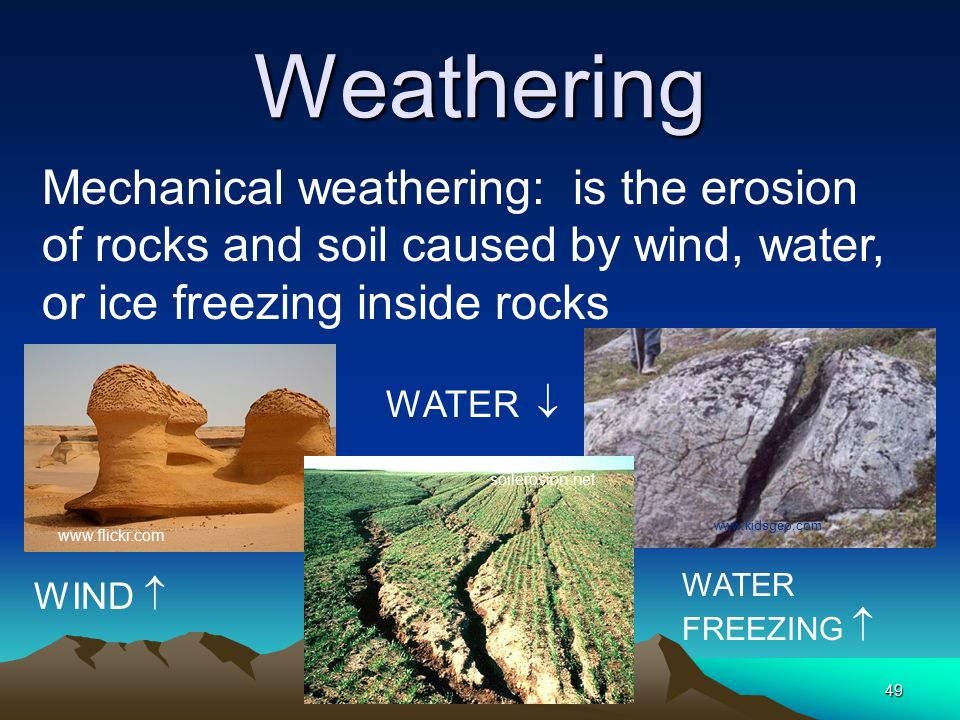 Weathering Mechanical weathering: is the erosion of rocks and soil caused by wind, water, or ice freezing inside rocks.