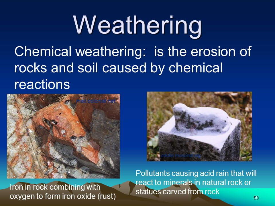Weathering Chemical weathering: is the erosion of rocks and soil caused by chemical reactions. mail.colonial.net.