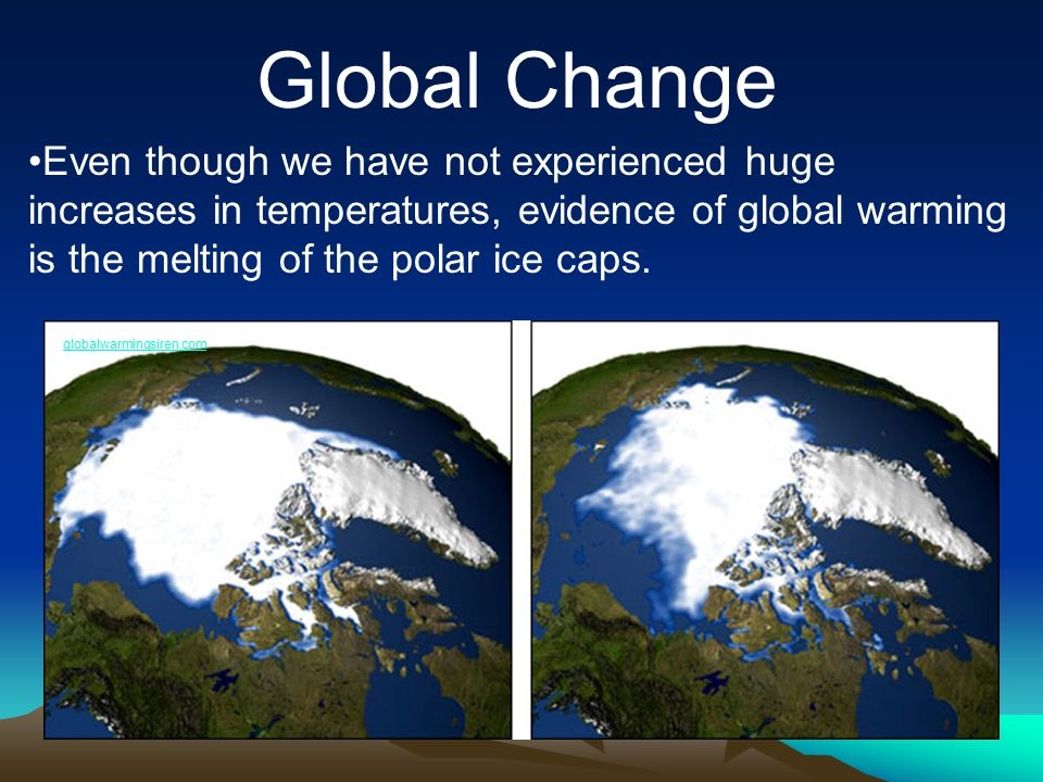 Global Change Even though we have not experienced huge increases in temperatures, evidence of global warming is the melting of the polar ice caps.