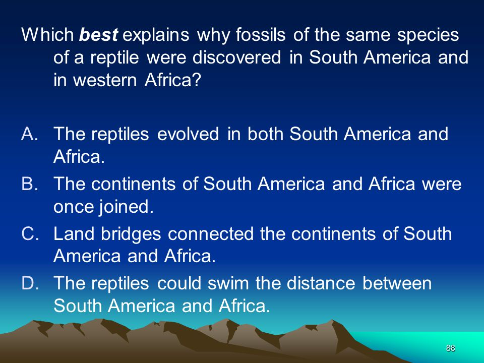 Which best explains why fossils of the same species of a reptile were discovered in South America and in western Africa