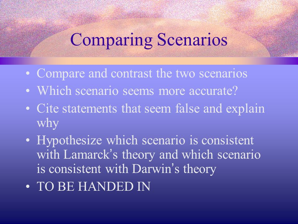 Comparing Scenarios Compare and contrast the two scenarios