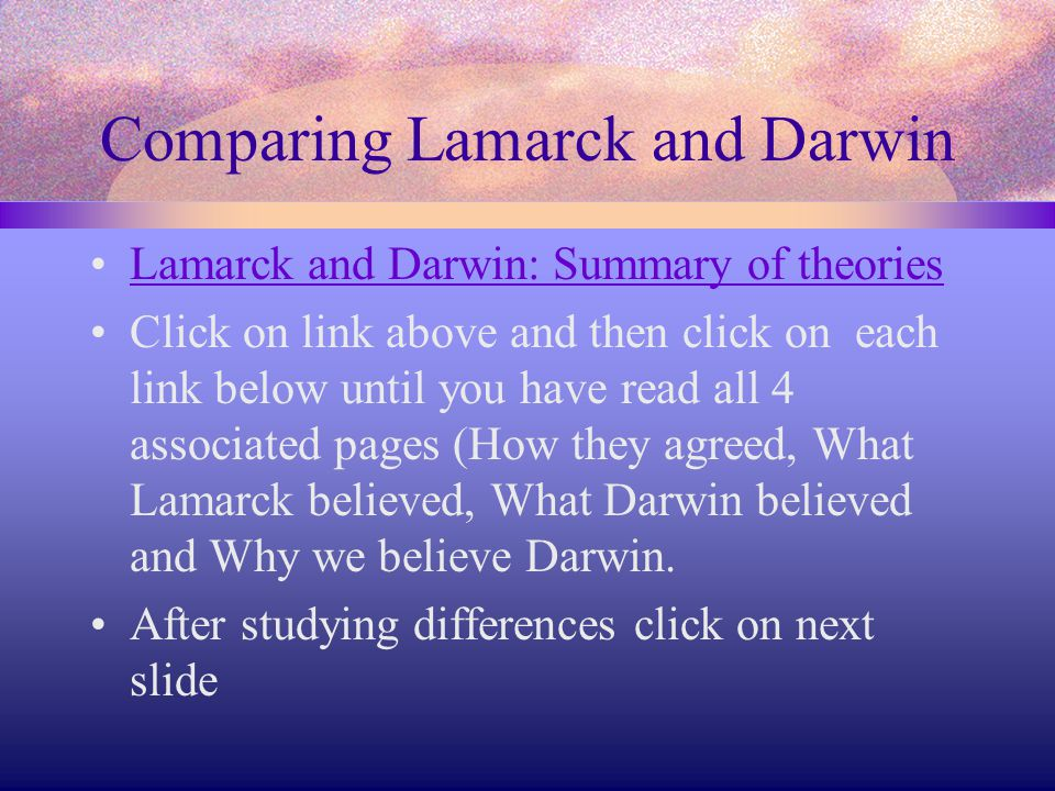 Comparing Lamarck and Darwin