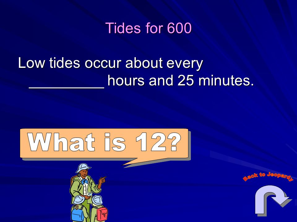 Tides for 600 Low tides occur about every _________ hours and 25 minutes.