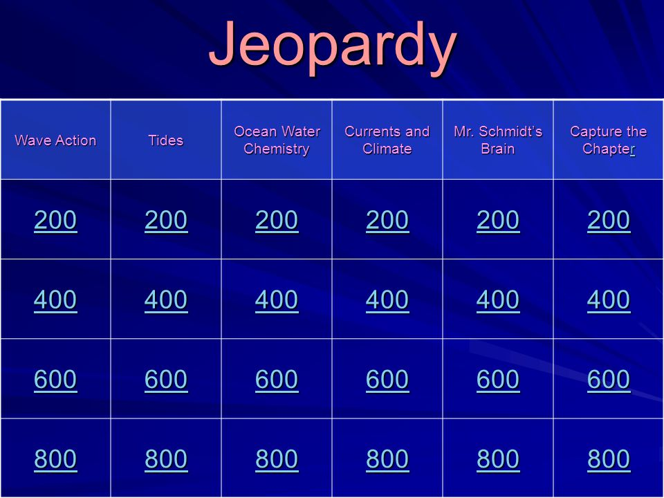 Jeopardy 200 400 600 800 Wave Action Tides Ocean Water Chemistry