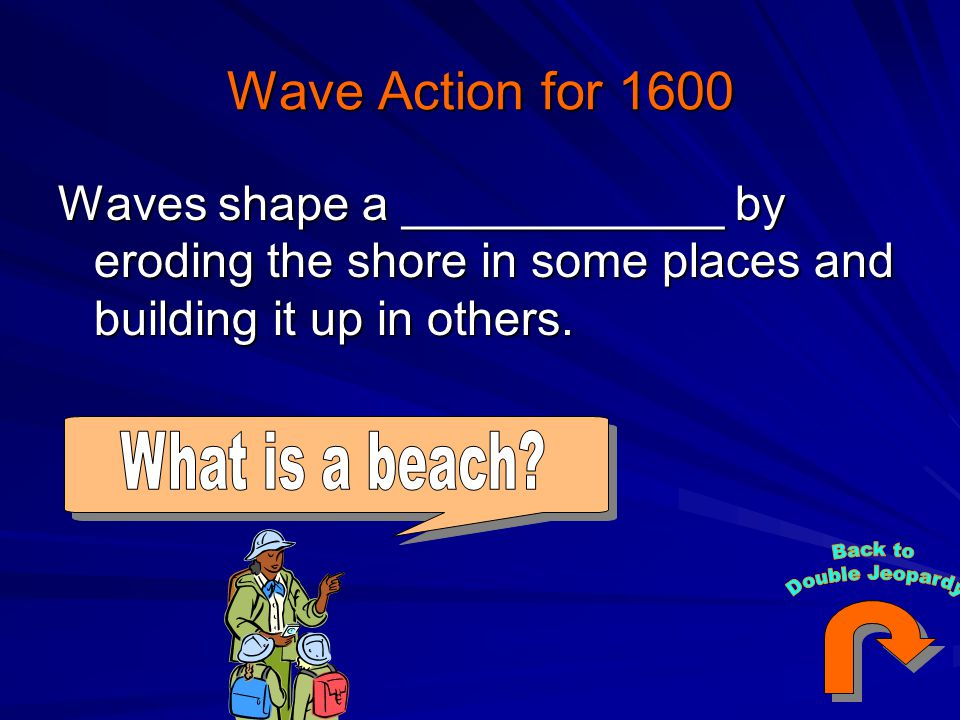 Wave Action for 1600 Waves shape a ____________ by eroding the shore in some places and building it up in others.