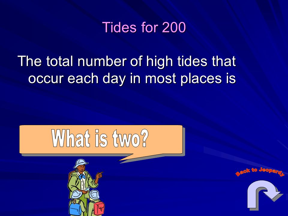 Tides for 200 The total number of high tides that occur each day in most places is.