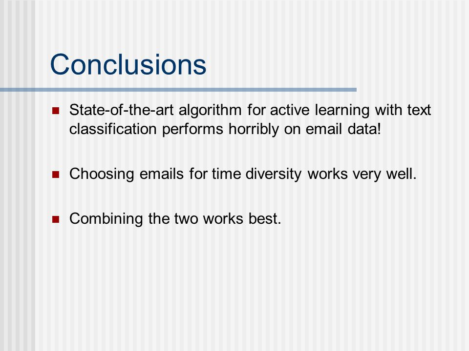Conclusions State-of-the-art algorithm for active learning with text classification performs horribly on email data!