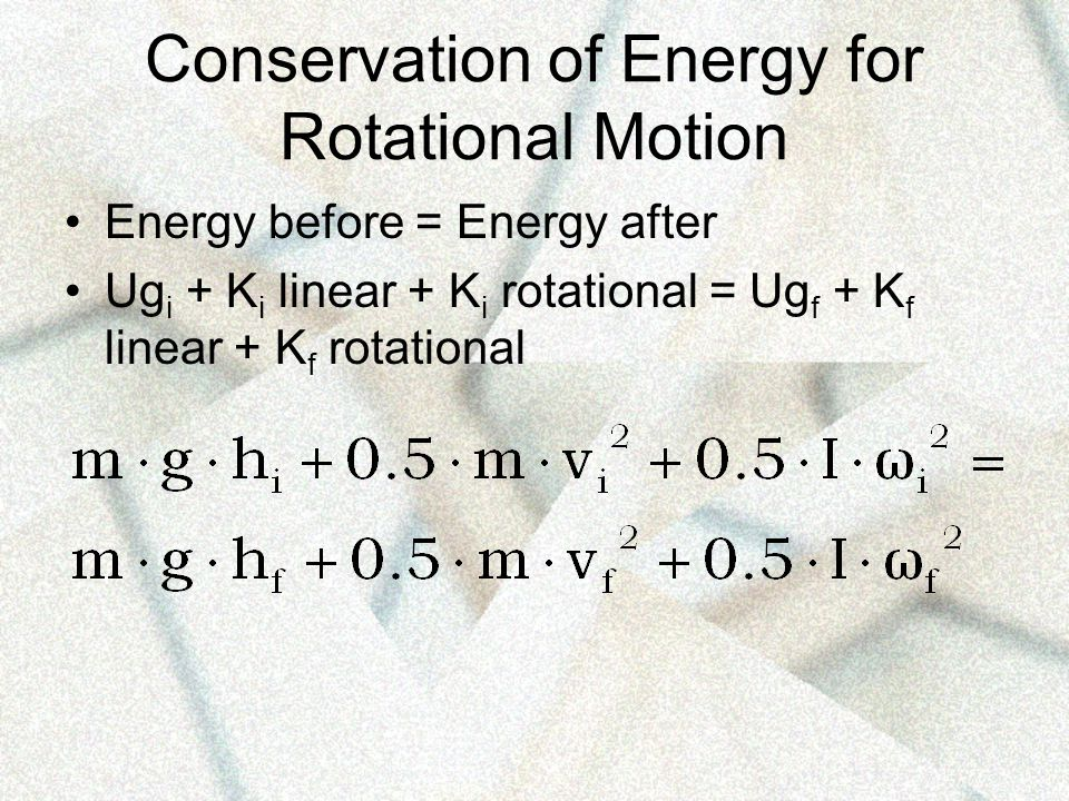 Conservation of Energy for Rotational Motion