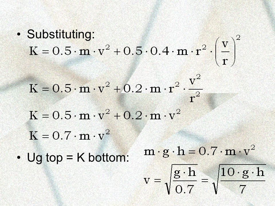 Substituting: Ug top = K bottom: