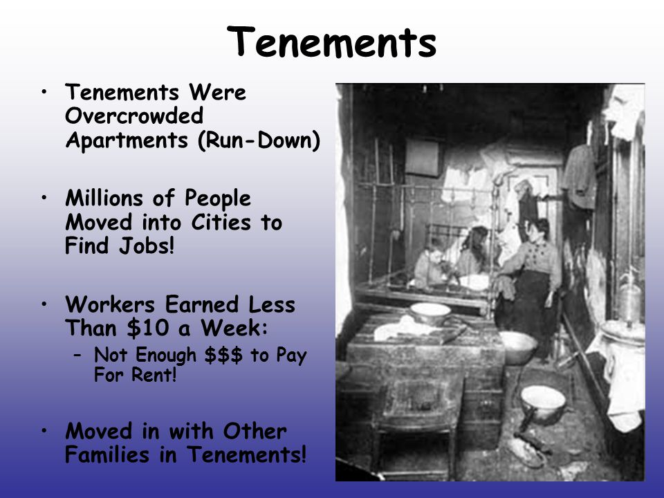 Tenements Tenements Were Overcrowded Apartments (Run-Down)