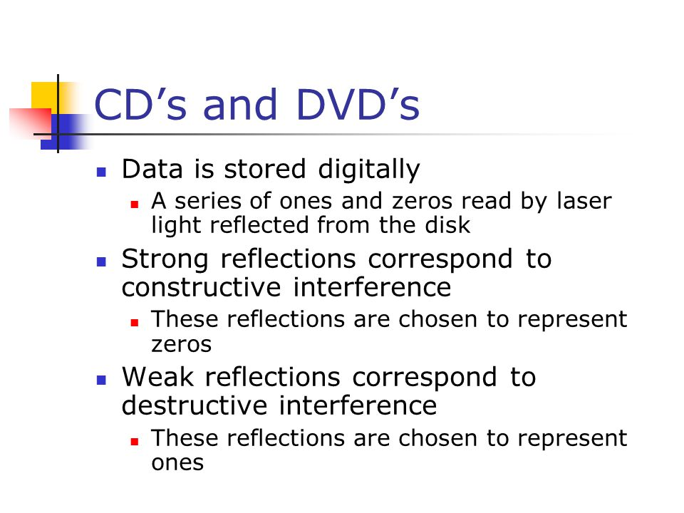 CD's and DVD's Data is stored digitally