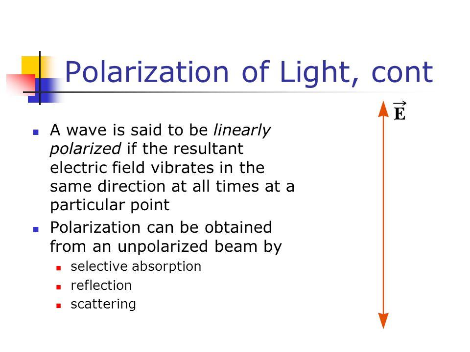 Polarization of Light, cont