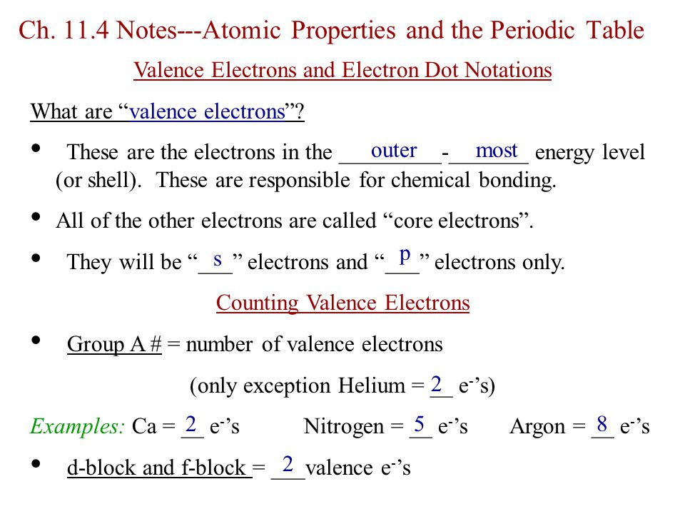 Ch. 11.4 Notes---Atomic Properties and the Periodic Table