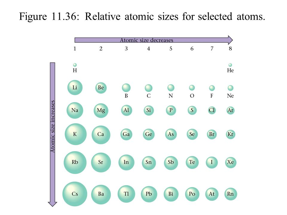 Figure 11.36: Relative atomic sizes for selected atoms.