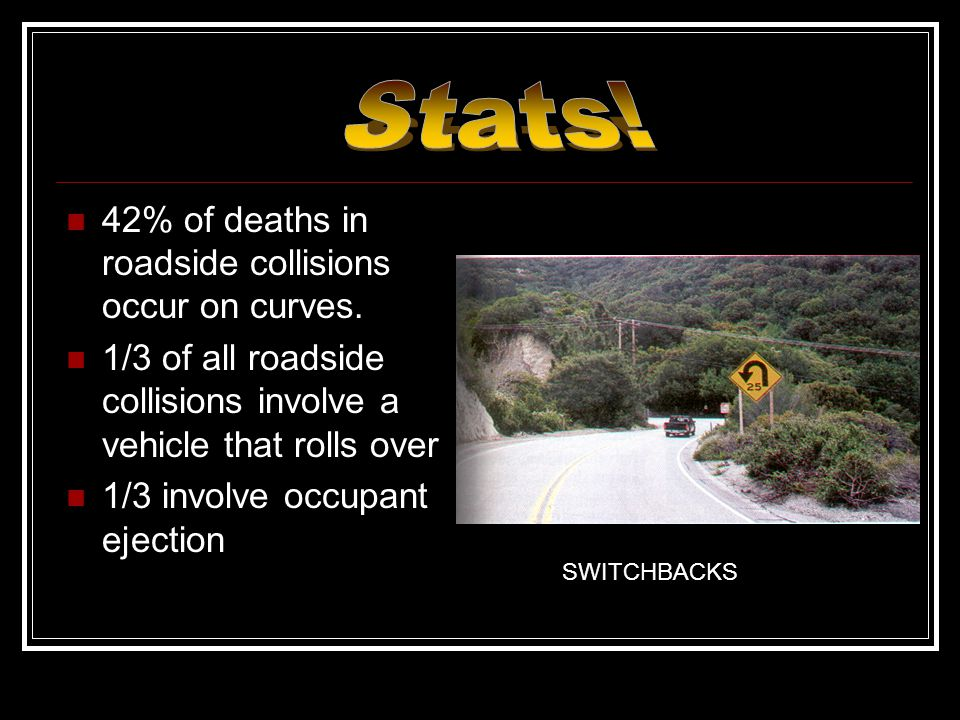 Stats! 42% of deaths in roadside collisions occur on curves.