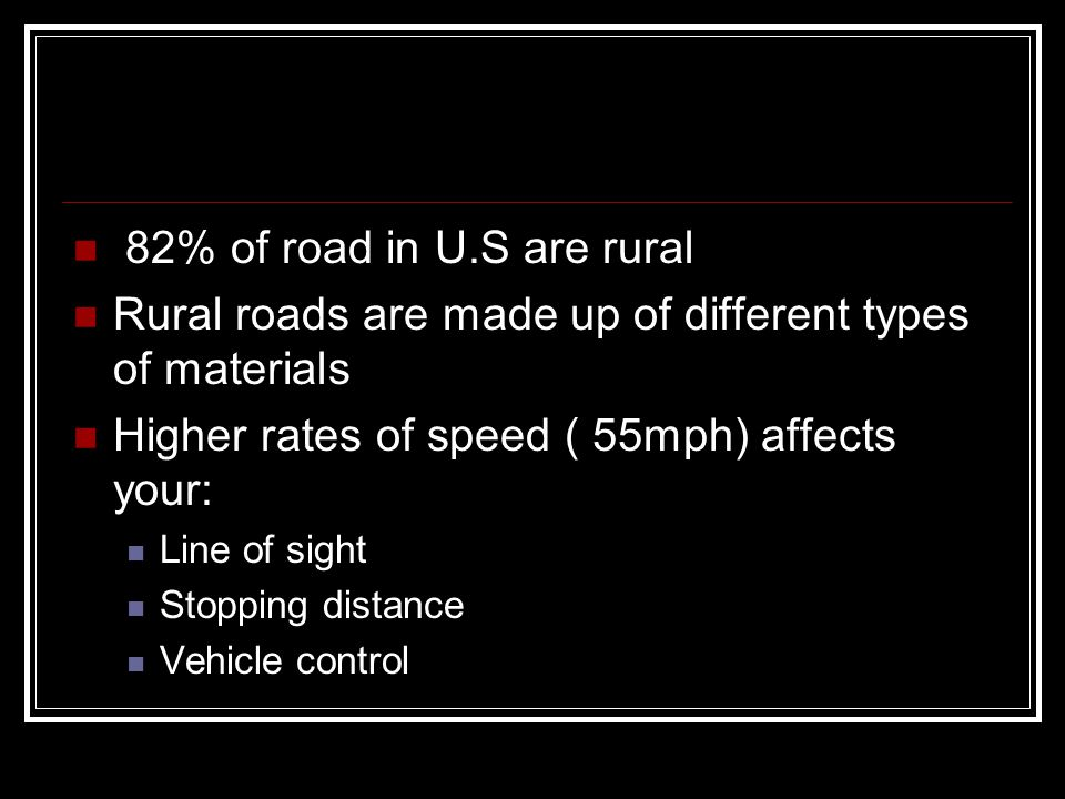 Rural roads are made up of different types of materials