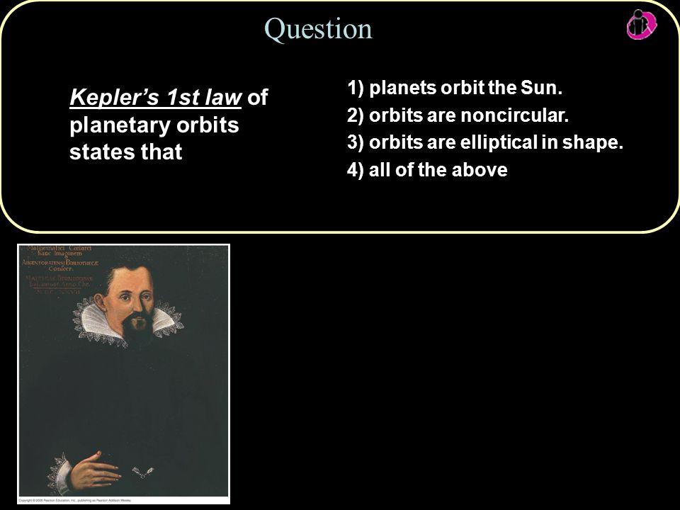 Question Kepler's 1st law of planetary orbits states that