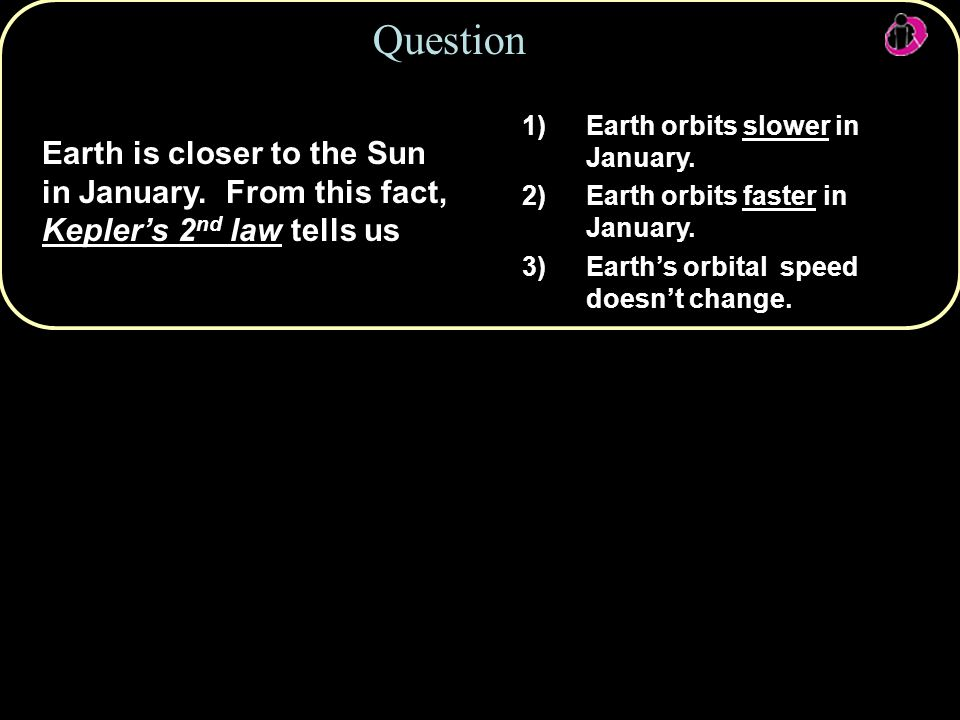 Question Earth orbits slower in January. Earth orbits faster in January. Earth's orbital speed doesn't change.