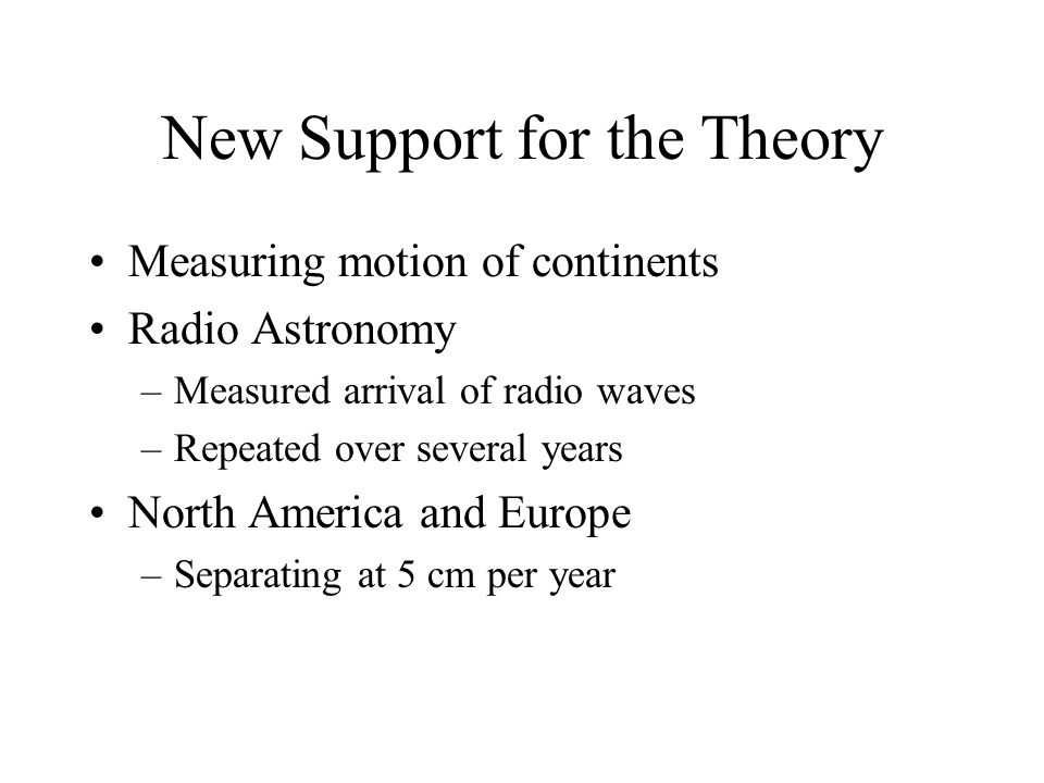 New Support for the Theory