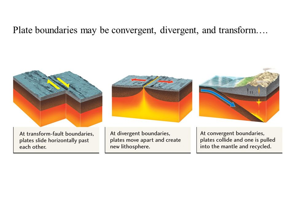 Plate boundaries may be convergent, divergent, and transform….