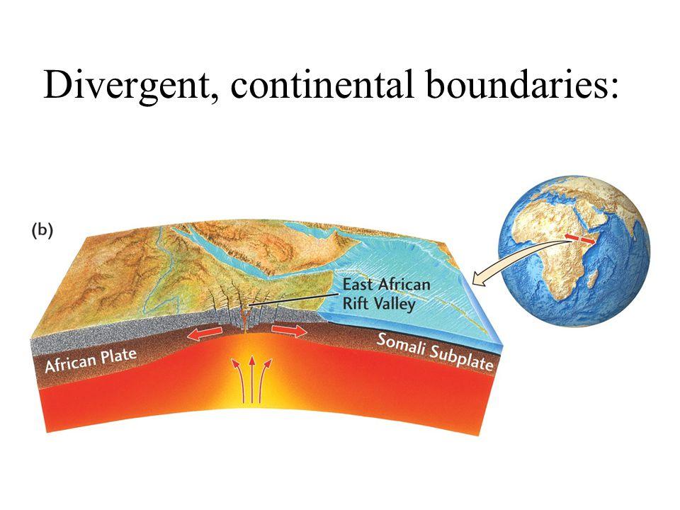 Divergent, continental boundaries:
