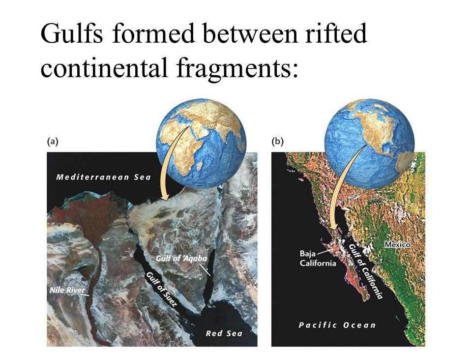 Gulfs formed between rifted continental fragments: