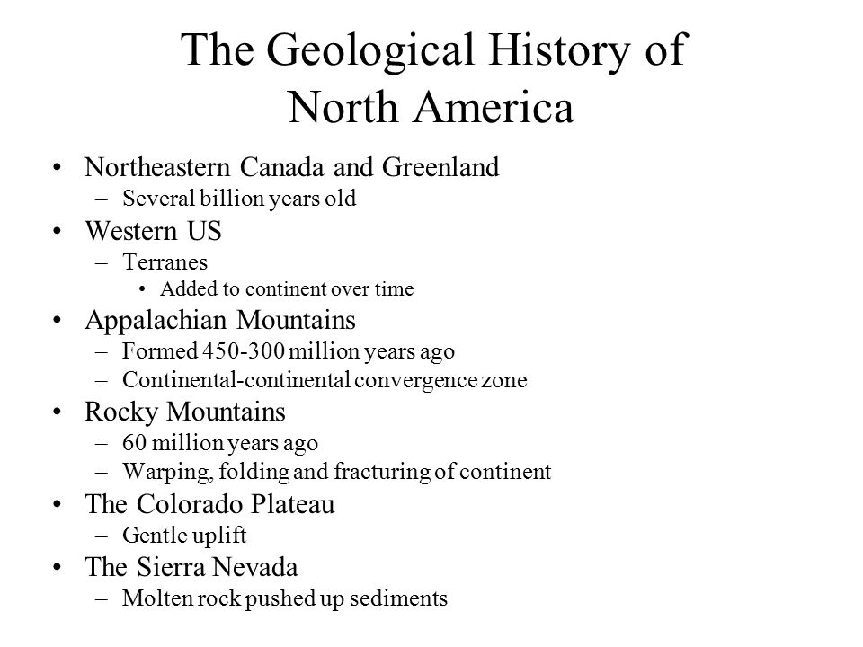 The Geological History of North America