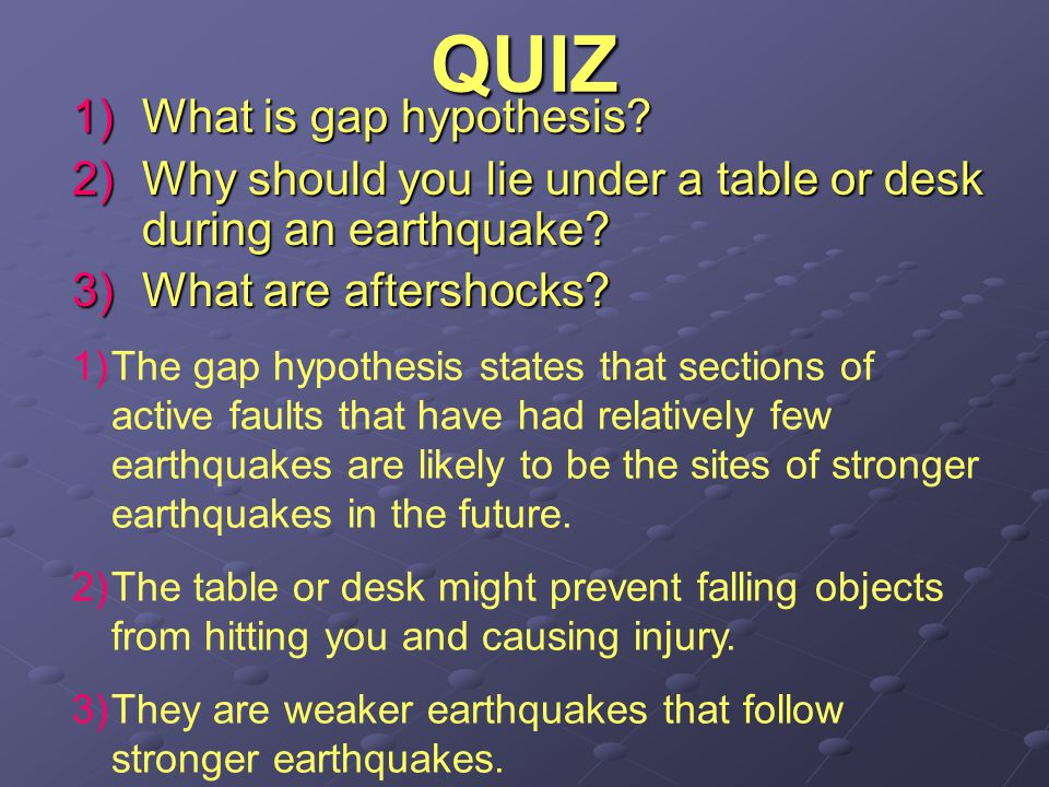 QUIZ What is gap hypothesis