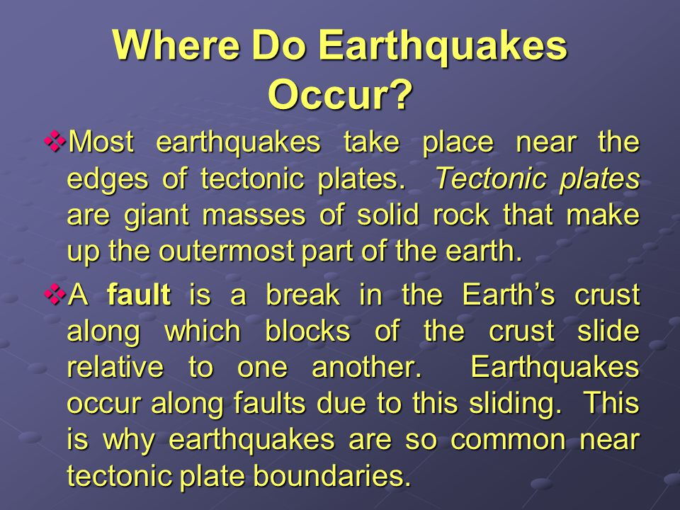 Where Do Earthquakes Occur