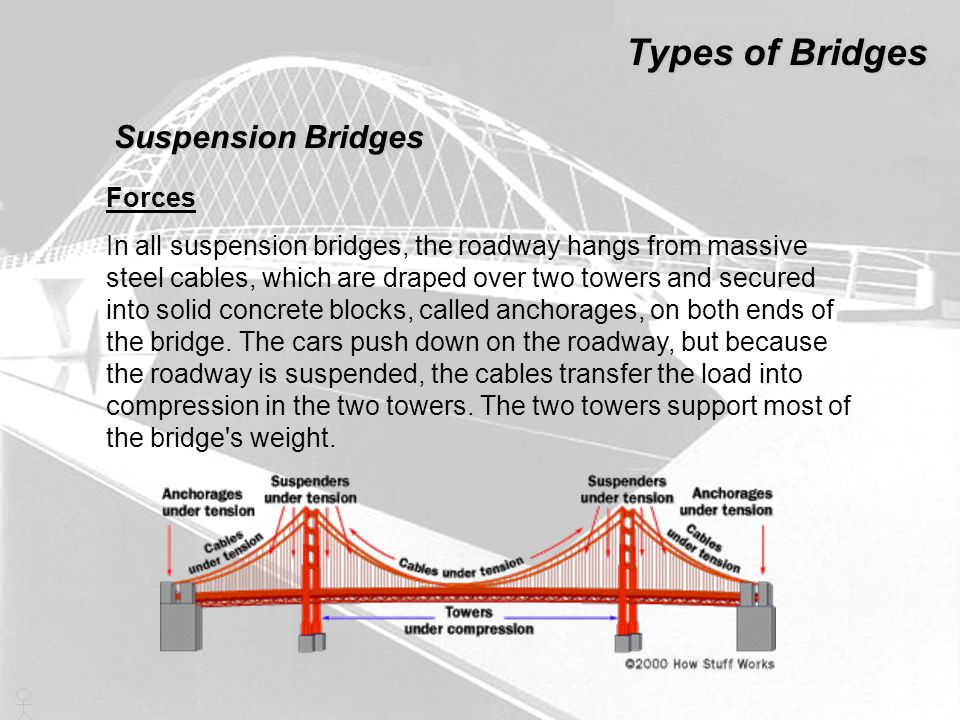 Types of Bridges Suspension Bridges Forces