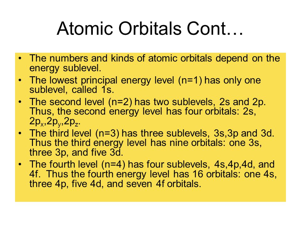 Atomic Orbitals Cont… The numbers and kinds of atomic orbitals depend on the energy sublevel.