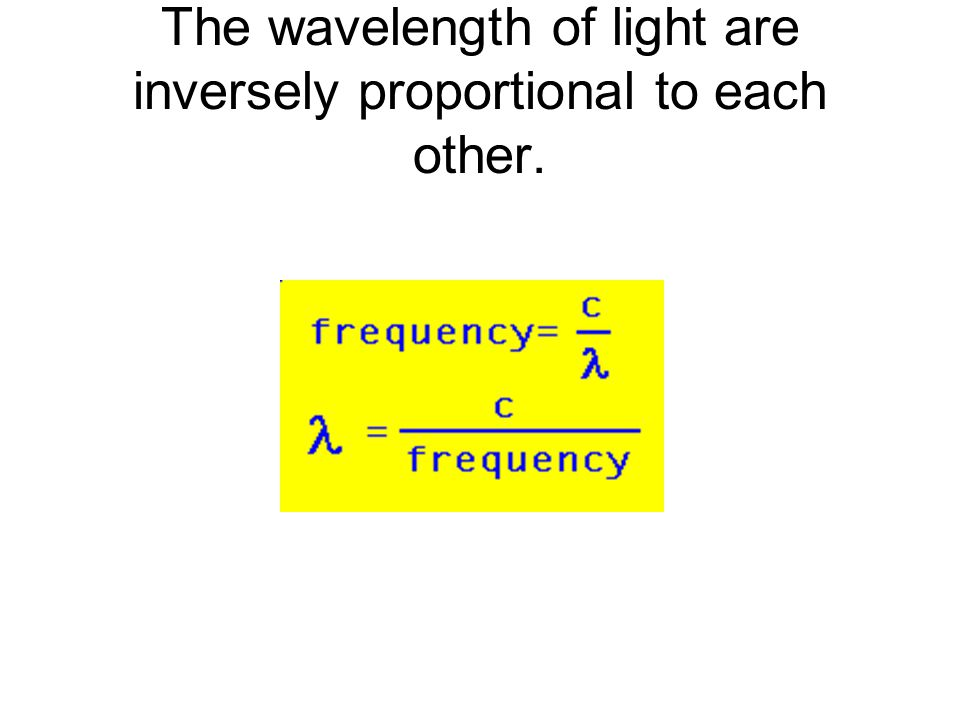 The wavelength of light are inversely proportional to each other.