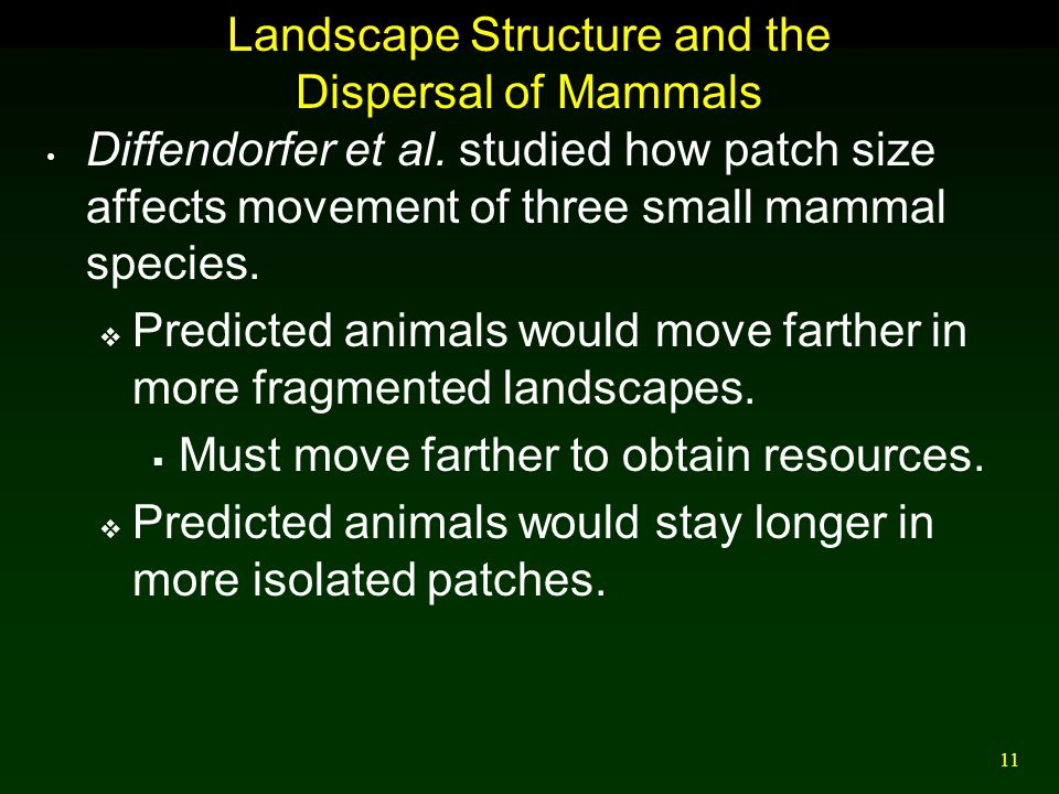 Landscape Structure and the Dispersal of Mammals