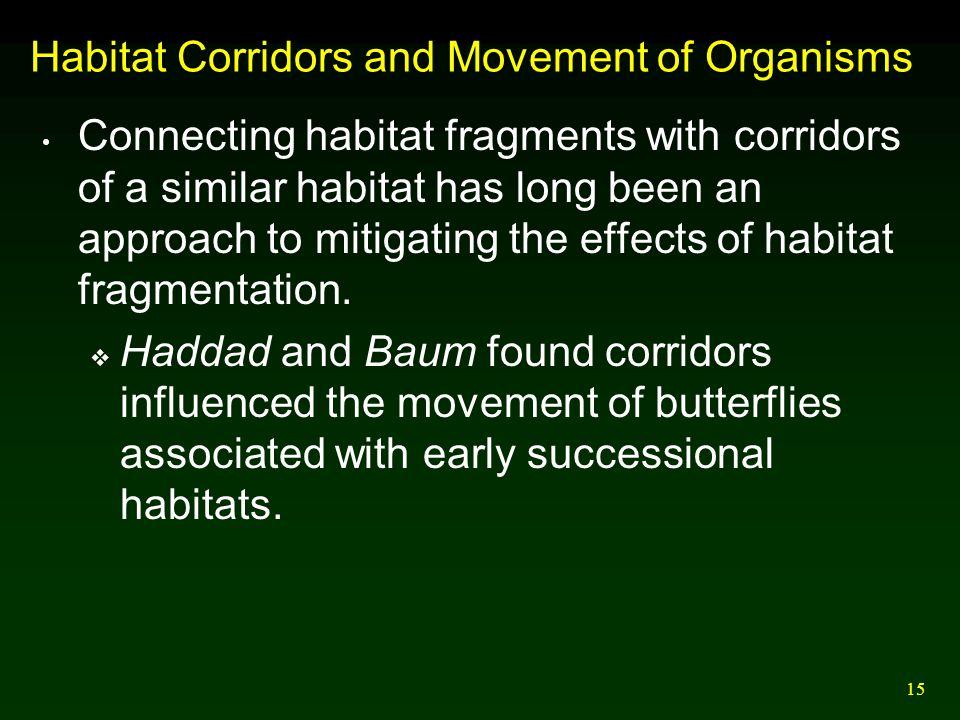 Habitat Corridors and Movement of Organisms